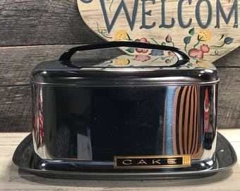 1950's Mid Century Lincoln Beautyware Square Shaped Chrome Cake Carrier, Vintage Kitchen, Chrome Kitchen