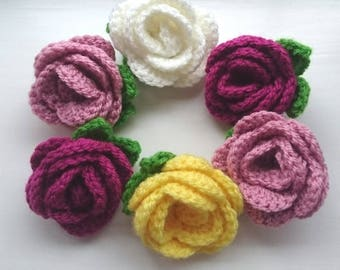 Crochet rose flower brooch, buttonhole, flower accessory