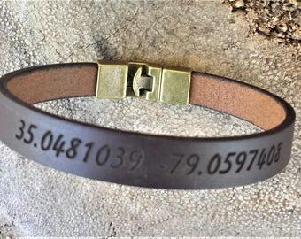 FREE SHIPPING-Coordinates Bangle,Bracelet For Men,Custom Men Bracelet,Personalize Leather Men Bracelet,Engraved Leather Wristband For Dad