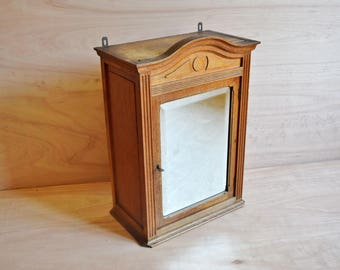 antique bathroom wall cabinet rustic storage cabinet in oak with beveled mirror shabby bathroom cupboard
