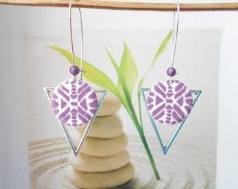 white purple sequin silver pendant earrings