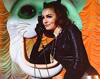 Retro 1960s Julie Newmar as Catwoman on Phone  From Batman TV Show Color Photograph— More Celebrity Photos available Too