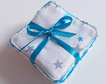 Lot de 8 lingettes demaquillantes / debarbouillantes lavables dans les tons blanc, gris et bleu turquoise