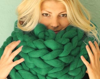 SALE Arm knitted chunky scarf, Knitted Scarf, Chunky Scarf, Wool Scarf, Scarf, Arm Knitting, Merino Wool Scarf, Super chunky Scarf, Chunky y