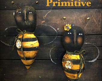 Primitive Bees - bees - bumble bees - primtive - summer decor - yellow