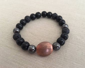 Striking - Aromatherapy Essential Oil Diffuser Bracelet, Lava Beads, Copper, Crystal and Hematite