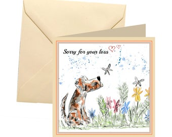 Dog sympathy card, blank card, sympathy card, animal sympathy card, with sympathy, pet loss card, bereavement card