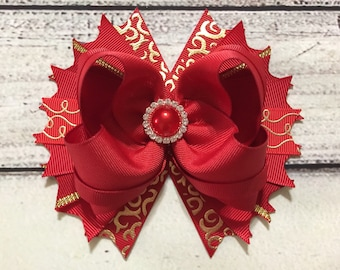 Red and Gold Christmas Hair Bow ,Christmas Hair Bow,Red Christmas Boutique Hair Bow ,Red Holiday Hair Bow, Red and Gold Christmas Hair bows