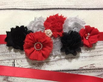 Black ,Red,and Silver Maternity Sash, Maternity Sash,maternity sash girl ,Baby Shower Sash,Flower Girl Sash,Vintage Flower Belt, Bridal Sash