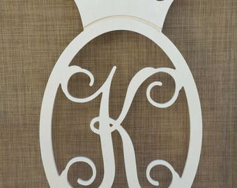 Crown Monogram, Personalized, Kids Room Decor, Home Decor, Wall Hanging, Wall Art, Wooden Monogram, Crown, Oval Border