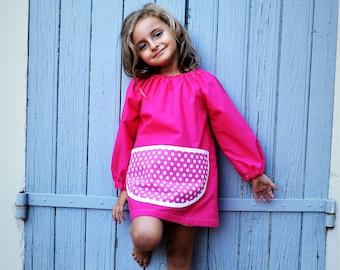 Art Smock 2-4 Years Fuschia Pink Polka Dots Pocket 100% Cotton Girls Painting Apron Tablier Filles Rose Petit Pois Ecolier Ecole Blouson