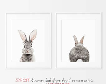 Set of 2 Bunny Prints,  Nursery Decor, Animal Prints for nursery, Printable Nursery Bunny, Instant Download, Rabbit Print, Rabbit Butt Tail