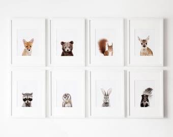 Set of 8 Woodland nursery prints, Nursery decor,  Woodland Nursery Printable, Woodland animals decor, Baby animals, Nursery art Nursery