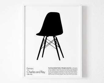Chair Print,Chair art, Eames chair Print, Retro print, Modern poster,Eames chair poster, Affiche Scandinave, minimalist wall art