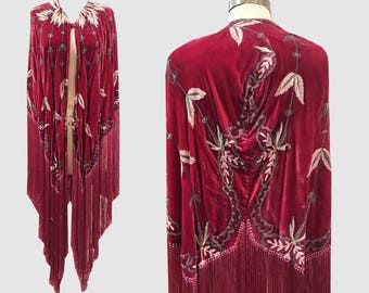 1920s Silk Velvet Embroidered and Fringed Cape