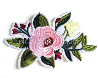 Patch, badge fusible pink flower to sew or iron 150 x 100 mm - applique flowers