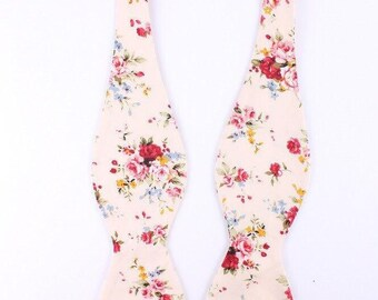 C2 Men's Cream And Pink - Self Tie Bow Tie| Flower | Self Tie | Bow Tie | Bowtie | Floral | Wedding | Groom | Gift | Ideas | for him