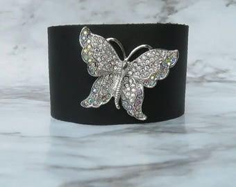 Black leather cuff bracelet for women, butterfly bracelet, butterfly brooch, rhinestone bracelet, symbolic jewelry, brooch bracelet, AB