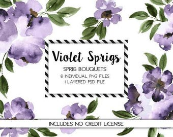 Watercolor Floral Clipart - Ultra Violet Floral Clipart - Watercolor Purple Flowers - Floral Watercolor Clipart -Purple Flowers
