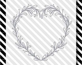 Heart Valentine Wreath svg - Heart Valentine Laurel svg- Heart Wreath svg - Heart Laurel dxf - Valentine Wreath dxf - Valentine Laurel dxf