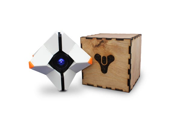 Destiny Ghost Kit - 3D Printed With Custom Laser Cut Box, Magnets, & LED