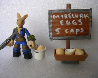 FALLOUT  4  Easter Bunny with  Mirelurk Eggs - customized Funko mini vault 111 dweller