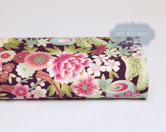 Traditional Japanese floral fabric.