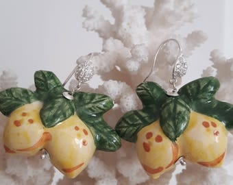 Sicilian Caltagirone ceramics and Silver earrings with cubic zirconia, earrings lemons