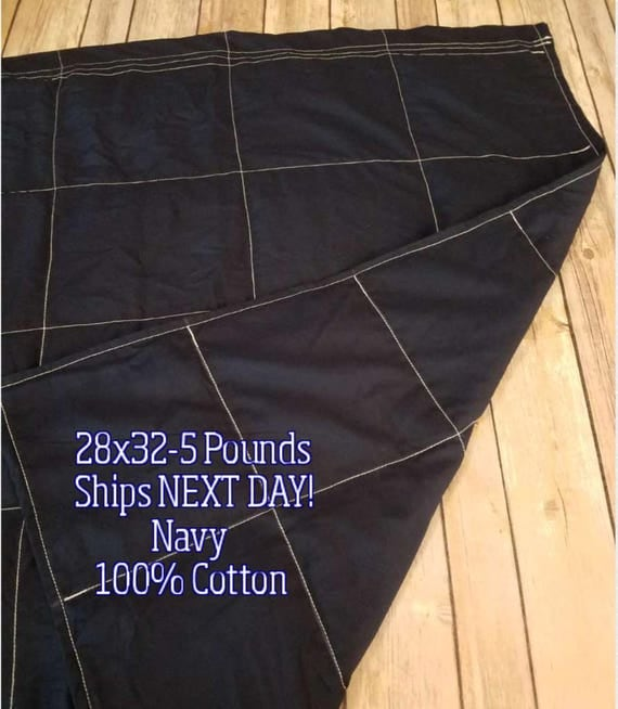 Navy, 5 Pound Weighted Blanket, 28x32,  5 Pounds, For autism, SPD, anxiety, ptsd, Calming blanket