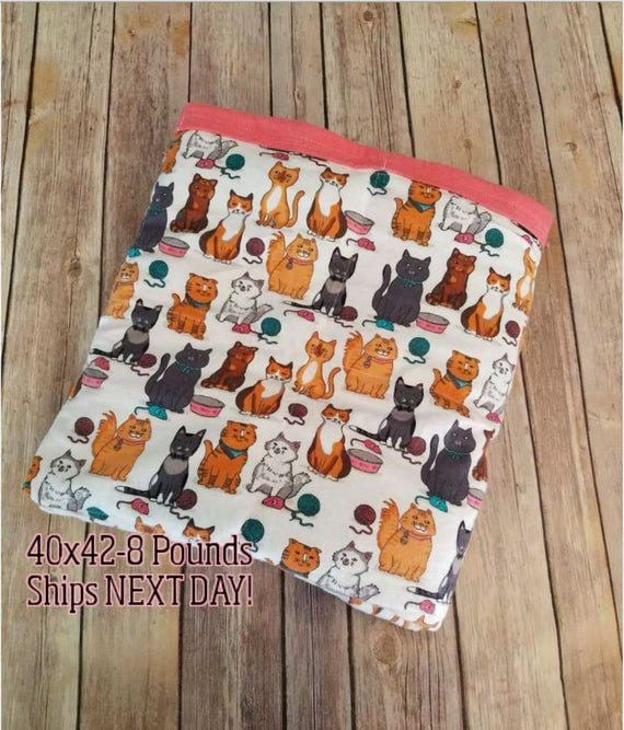 Cat, 8 Pound, WEIGHTED BLANKET, Ready To Ship, 8 pounds, 40x42 for Autism, Sensory, ADHD