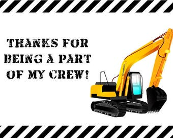 Construction Thank you card, Thanks for being a part of my crew