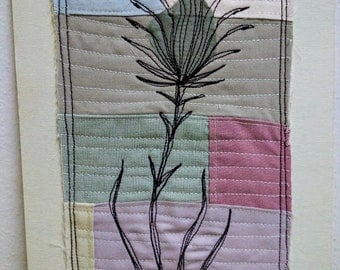 Patchwork Textile Collage Unframed. Original Thread Painting.