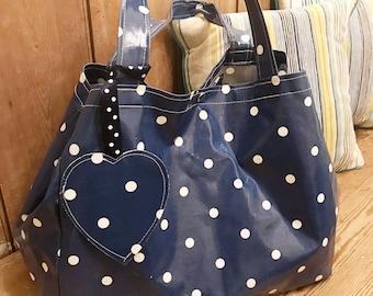 Blue Polka Dot Bag - Market Bag - Handbag - Blue Bag – Oilcloth Bag
