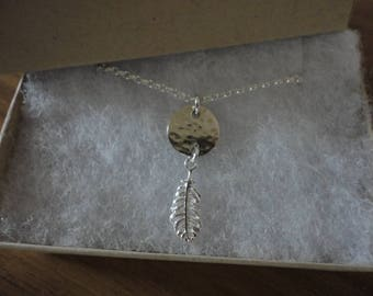 Silver Disc & Feather Necklace