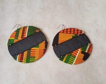 Kente African Fabric Earrings - Kente Earrings - African Fabric Earrings - Statement Earrings - Afrocentric Earrings - Hypoallergenic
