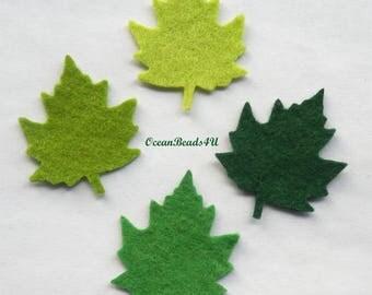 Felt Green Leaves D (2 sizes), Felt leaves, felt shapes, appliques, green leaves, grün filz blätter