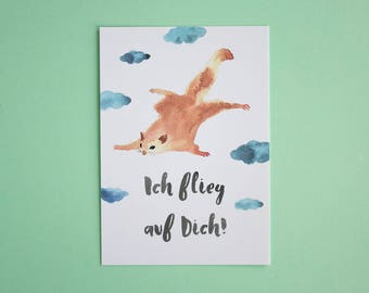 Postcard flying squirrel - postcard A6 - postcard lovenote - postcard with quote