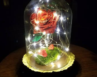 Handmade Crepe Paper Rose/Red Metallic Crepe Paper Rose/Domed LED Fairy Lights Enchanted/Fairy Tale Flower/Musical Heart Box
