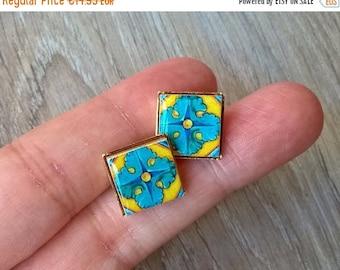 20% OFF SUMMER SALE Mexican tile stud earrings, stud earrings, Mexican tiles, Mexican jewelry, azulejo, Talavera tile earrings, Mexican tile