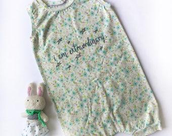 Floral romper, girls harem romper, girls romper, girls jumper, screenprinted romper, stars romper, star romper, ethically made clothes,