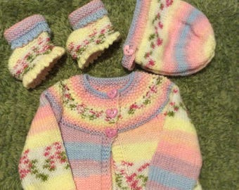 Baby jacket, bonnet and bootees
