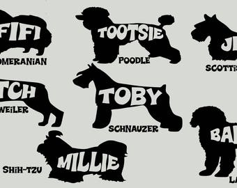Large Personalized dog breed decals