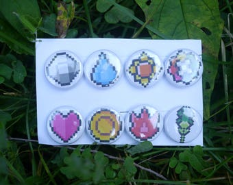 "Pokemon Kanto badges- 8 button set - 1"" video game pixel art badges pins pinbacks"