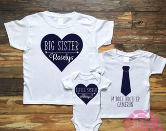 Big Sister Shirt, Middle Brother Shirt, Little Sister Shirt, 3 Sibling Shirt Set, 3 Sibling Shirts, Sibling Shirts, Sibling Shirt Set