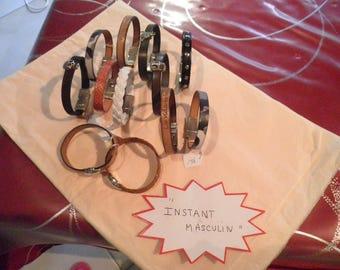"leather ""INSTANT MASCULINE"" bracelets"