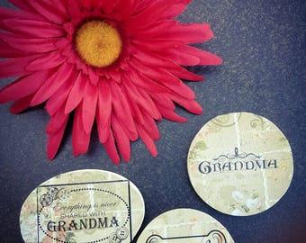 Grandma wooden magnets, kitchen decor, fridge magnets.