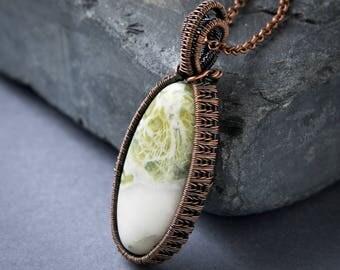 Wire Wrapped Pendant - Green Earth Jasper - Copper Jewelry