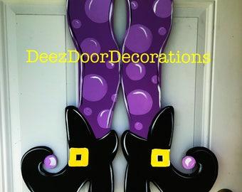 Halloween witch door hanger,Halloween with legs door hanger,Halloween wreath,witch Sign,witch feet door hanger