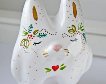Valentine's Day Gift for Her Idea, Cute Rabbit Totem, Ceramic Bunny Figurine