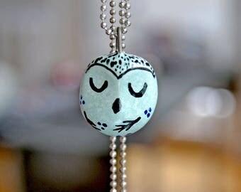 Owl Necklace, Owl Lover Jewellery, Gift for Her Idea, Tiny Ceramic Owl, Bird Lover Gift Idea